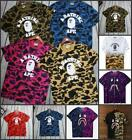 Fahion Men's Camo Bape Monkey Pattern Round Neck A Bathing Ape T-Shirt S-XXL