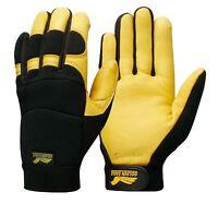GOLDEN EAGLE ! Mechanic HEATLOK Insulation Deerskin Leather Winter Gloves-MEDIUM