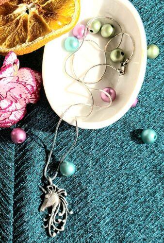 Vintage Sterling Silver Unicorn Pendant Necklace … - image 1