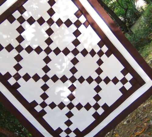 Chocolate Brown White 9 Patch Pieced COTTON Crib Lap Baby Irish Chain Quilt Top