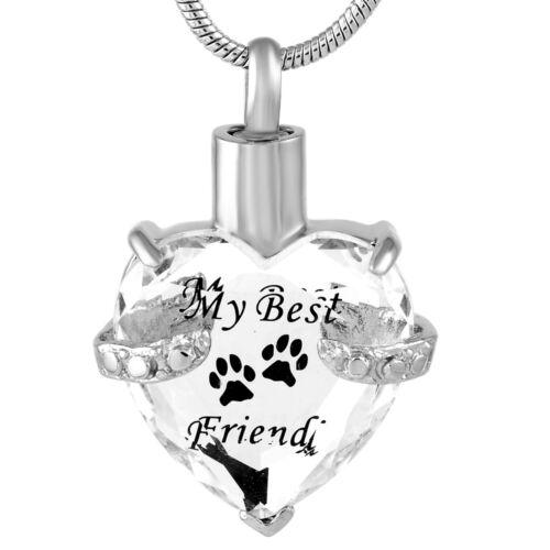 """/""""mon meilleur ami/"""" chien//chat Cristal transparent Coeur Crémation Pet Ash Keepsake Collier"""