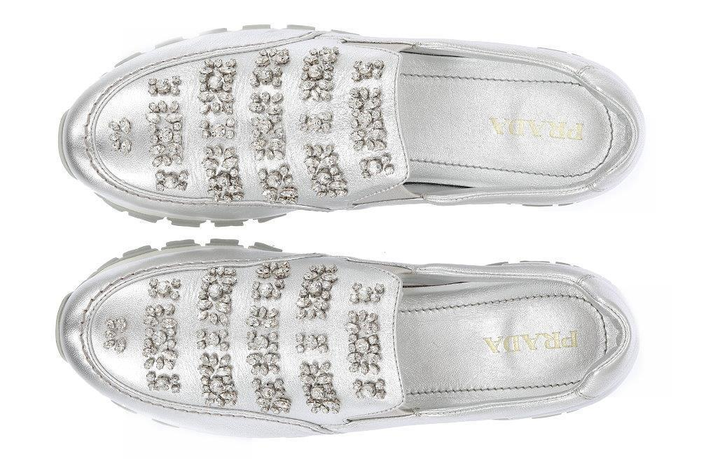 NEW PRADA LUXURY SWAROVSKI CRYSTALS SILVER LEATHER SNEAKERS CASUAL SHOES SHOES SHOES 39.5 35f7f5