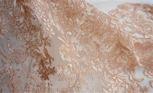 Embroidery Corded Wedding Costume Lace Tulle Beaded Bridal Dress Fabric 0.5 M