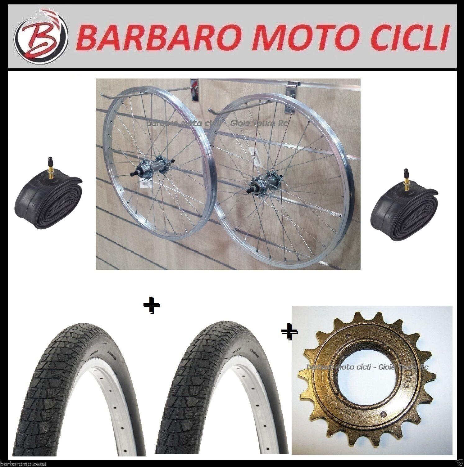 Par  De Ruedas + Neumáticos + Tubos + Piñón Z16 dientes 20X1.75 Bici Slick  Mercancía de alta calidad y servicio conveniente y honesto.