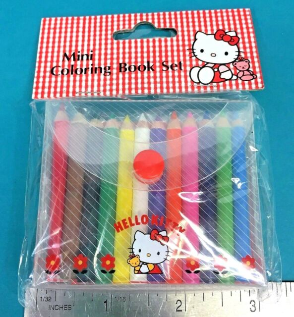 b71beeade Vintage Sanrio Hello Kitty Mini Coloring Book Set Colored Pencils Stickers  1995