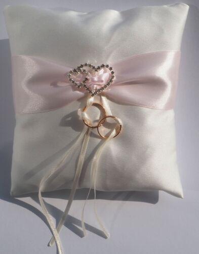 17x17cm Ringkissen m Wunschdruck Name+Datum Personalisiert Hochzeit Ivory o Weiß