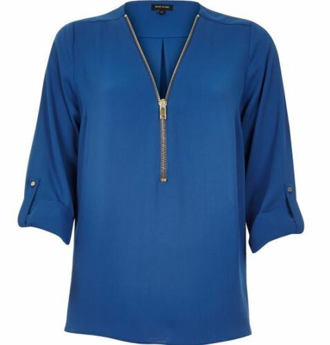 £36 Royal 32 Top Zip 2 X Island River Blouse Blue Sleeve Up Shirt Tab Neck 6 Nwt ZIZfq5