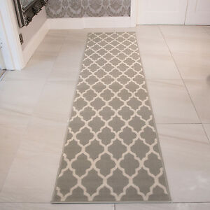 GREY TAUPE TRELLIS RUNNER RUG FOR HALL LONG NARROW GEOMETRIC HALLWAY ...