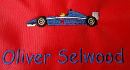 Personalised Formula 1Racing Car School//PE//Gym//Baby//Swimming Drawstring Bag