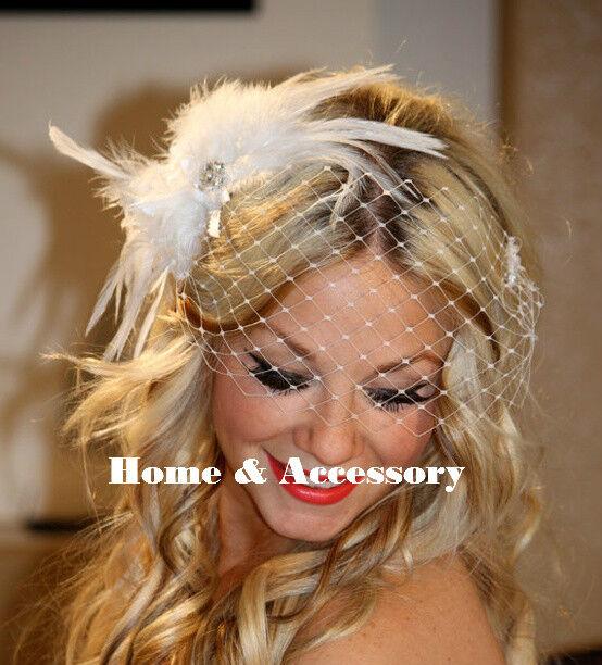 Vintage Feather Flower Bridal Wedding Birdcage Blusher Face Veil Headpiece