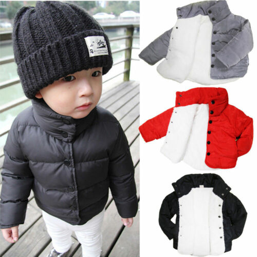 New Kids Boys Girls Thick Fleece-lined Jacket Padded Coat Cotton Warm Outerwear