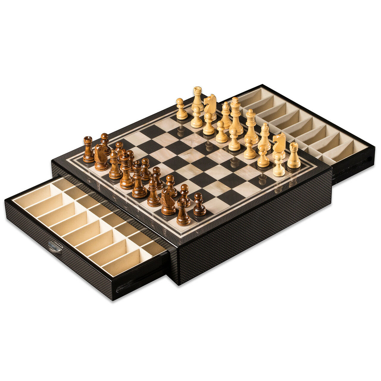 Bey Berk Carbon Fiber & Mother of Pearl  Design Chess Set