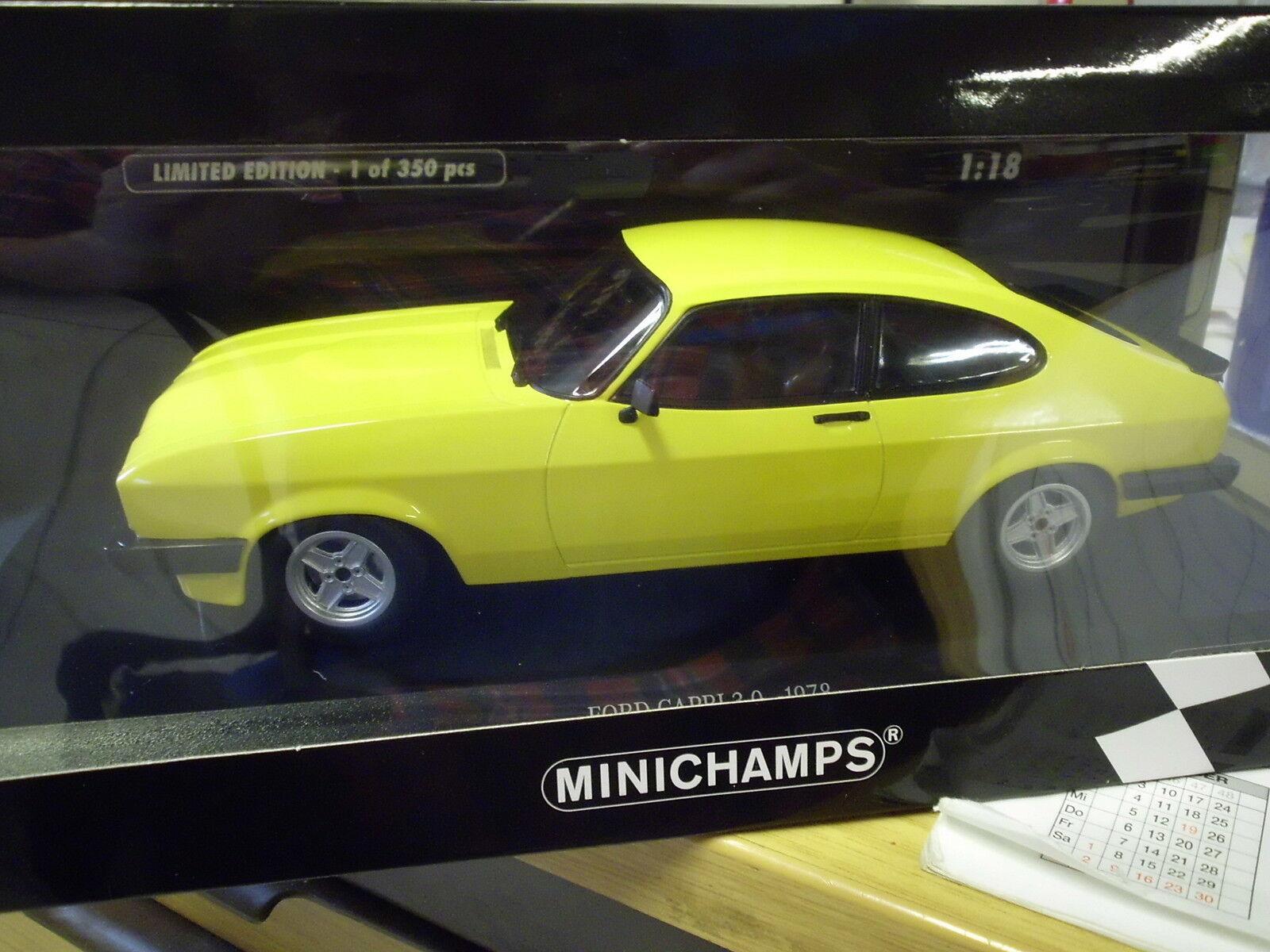 MINICHAMPS 155788601 1 18 Ford Capri 3.0 1978 Jaune Nouveau neuf dans sa boîte