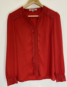 Review Red Blouse With Lace Details Size 12 EUC Retro Workwear