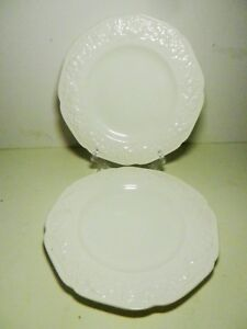 Set-of-2-Crown-Ducal-Cream-8-034-Embossed-Salad-Plates-Made-in-England