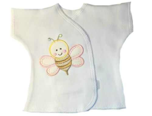 4 Preemie and Newborn Sizes Sweet Bumblebee White Baby Girl Shirt