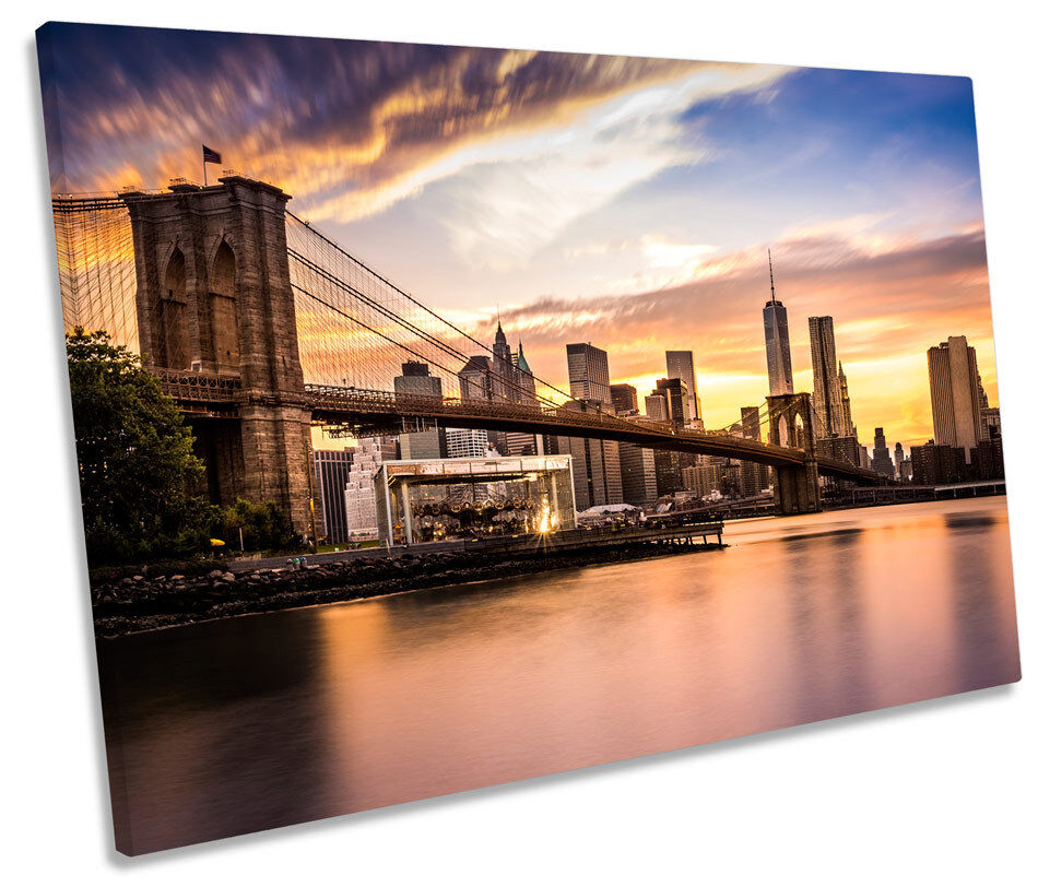 NEW York Cityscape Brooklyn Bridge tela singola Wall Art incorniciato stampa