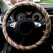 "Automotive 3D Stripe Ethnic Flax Cloth Universal Car Steering Wheel Cover 15"""