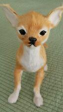 """A Lifelike Chiwawa Dog Replica 8"""" x 8"""" Lamb Fur Furry Animal Figurine"""