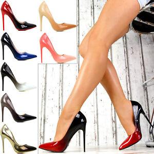 Das Bild wird geladen SeXy-Luxus-Farbverlauf-Pumps-Damen-Lack-Spitze-Schuhe- 85d17c1736