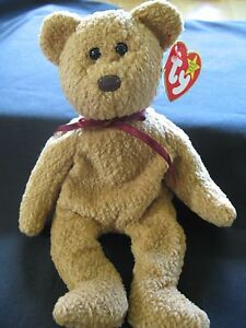 ty beanie baby curly brown teddy bear 1996 retired mwmt brown teddy ... 4a381ce968a2