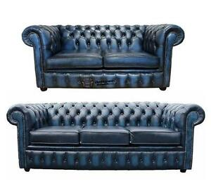 2 Seater Antique Blue Leather Sofa