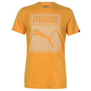 Puma Homme Box Qt T-shirt Taille S M L Xl 2xl Shirt Thé Jaune Nouveau-afficher Le Titre D'origine