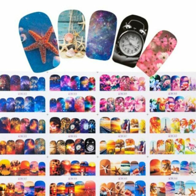 12 Designs Nail Polish Sticker Water Decals Summer Beach Starry Cool Sky Floral
