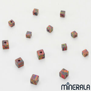 WHOLESALE-SYNTHETIC-LAB-CREATED-OPAL-FIRE-RED-CUBE-BEADS-VARIOUS-SIZES