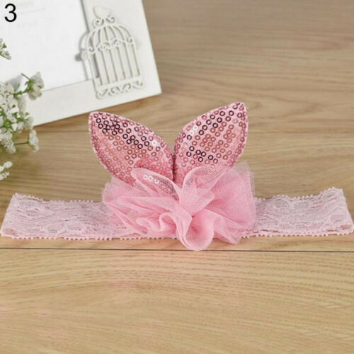 JI/_ AU/_ 5X Baby Girls Elastic Hairband Turban Rabbit Ear Headband Headwear LOT