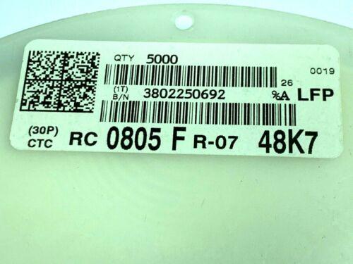 Widerstand 1/%,1//8W RC0805FR-0748K7L ~49K 0805 YAGO 48K7, 1 Rolle 5000 Stück