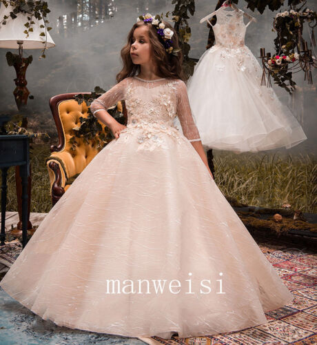 Pink Flower Girl Dress Beads Applique Princess Ball Gowns For Kids 2t 3t 4t 5t++