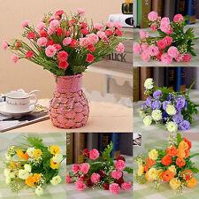 Artificial Carnation 23-Head Silk Flowers Bouquet Wedding Party Sunset Red