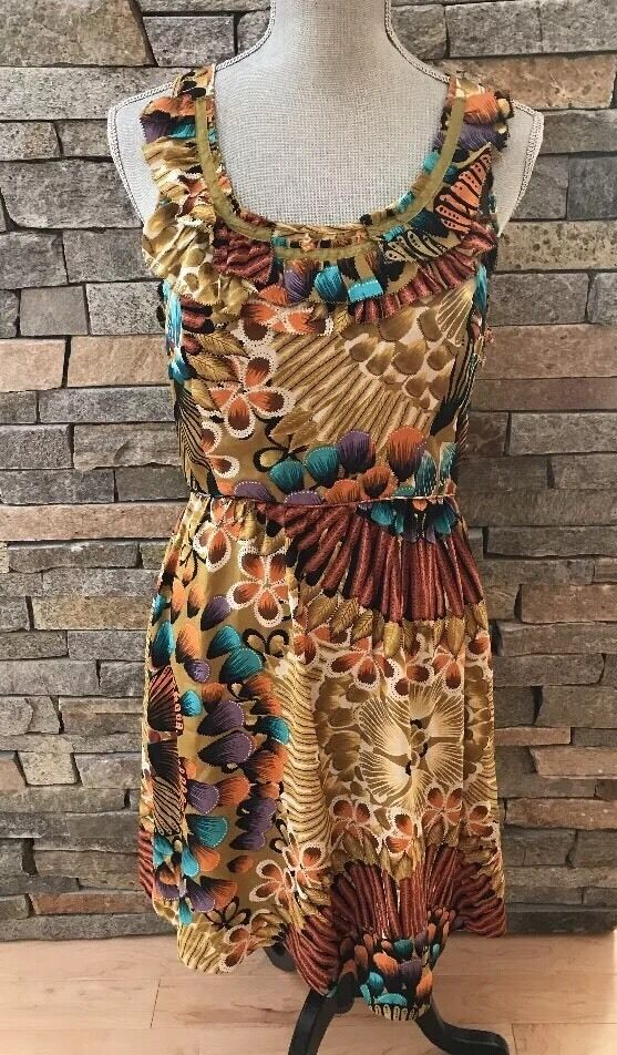 NWOT Anthropologie - Edme & Esyllte - - - Lappula Dress - Silk Floral - Size 10 0370e5