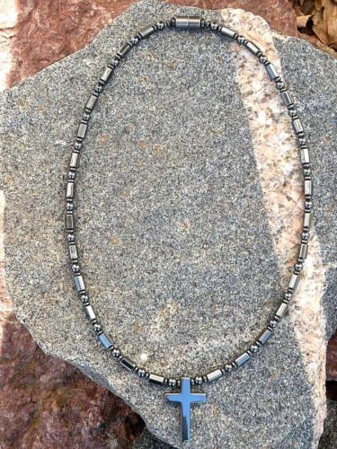 Cross Pendant Magnetic Hematite Men/'s Women/'s THERAPEUTIC HEALING Necklace
