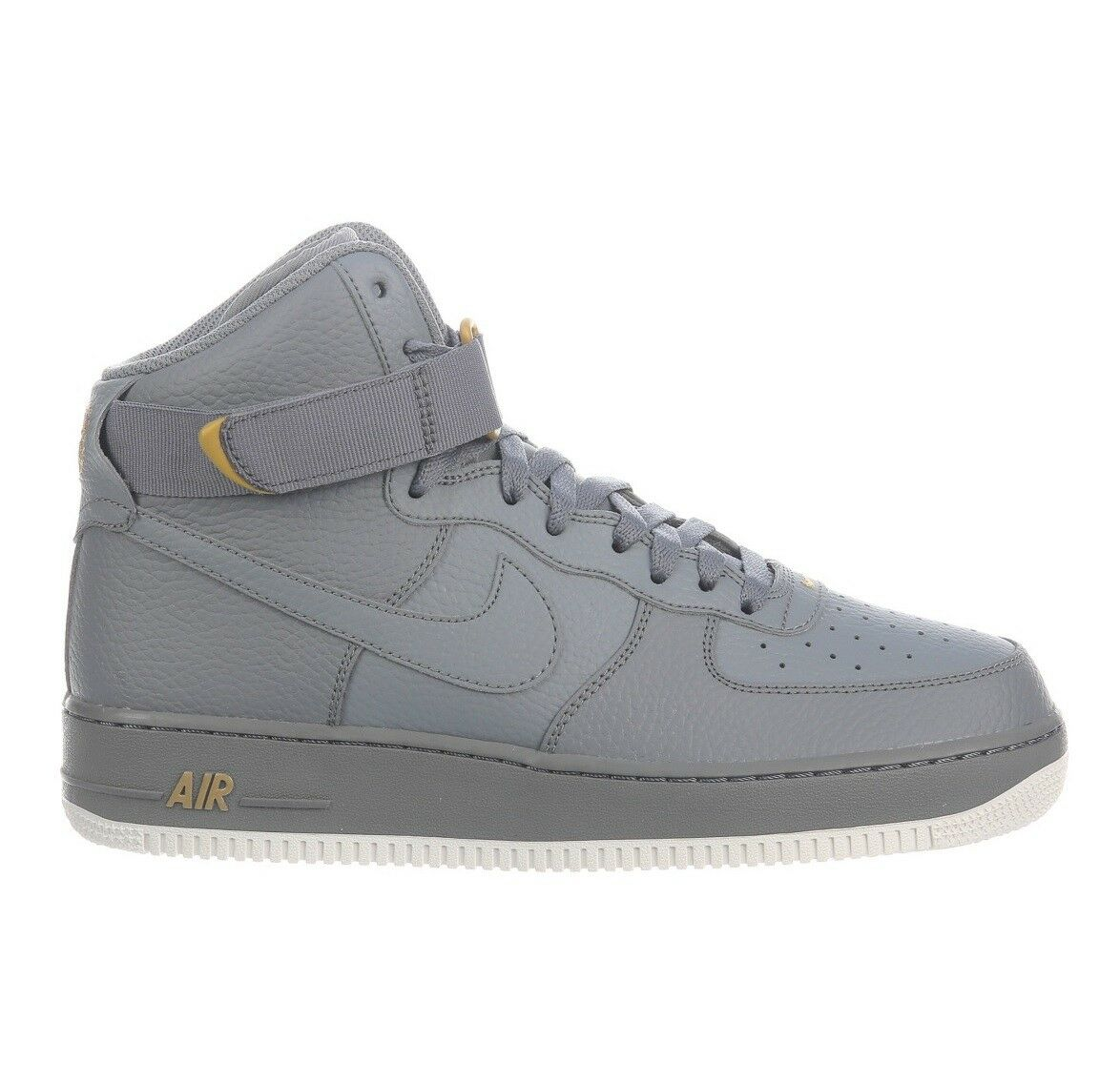 Nike Air Force 1 High '07 Mens 315121-049 Cool Grey Gold Leather Shoes Size 12.5