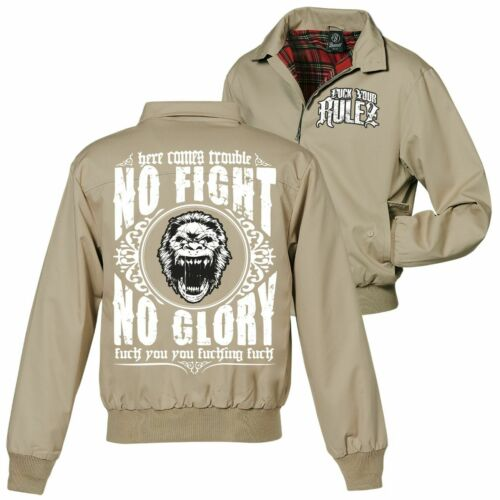 Harrington Giacca no Fight No Glory fuck you hate free fight Boxing Team Hardcore