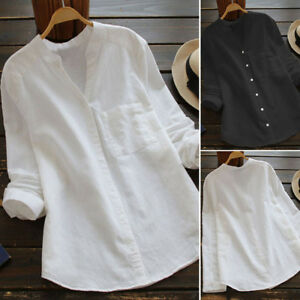 Ladies-Womens-Cotton-Casual-Solid-Long-Sleeve-Shirt-Blouse-Button-Down-Tops