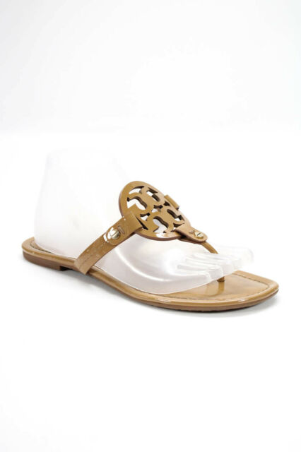 Tory Burch Womens Patent Leather Thong Slide On Sandals Beige Size 8 Medium