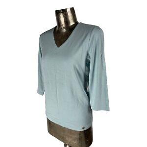 Olsen Blue 3/4 Sleeve Top T-Shirt NEW UK M 12 (EU40) Women's RRP £45