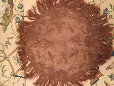 """Vintage estilo victoriano mantel 24"""" Redondo Flores De Ganchillo Hojas flecos beige oscuro"""