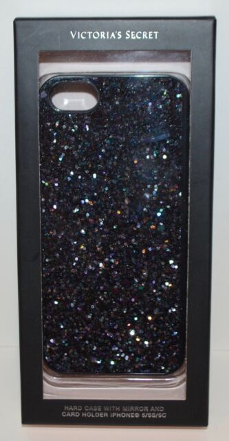 check out 0d04c d7c43 Victoria's Secret Black Glitter iPhone 5s Hard Case Sleeve W/ Mirror Card  Holder