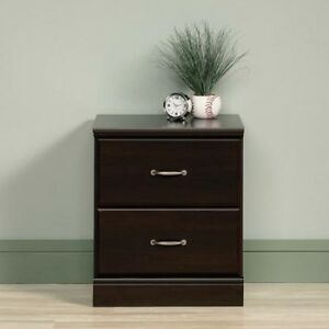 Image Is Loading Nightstand Cinnamon Cherry 2 Drawers Bedroom Furniture Bedside