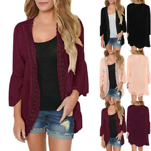 Womens-Casual-Solid-Lace-Long-Sleeve-Chiffon-Cardigan-Loose-Kimono-Blouse-Tops