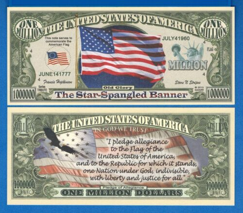 American Flag /& Pledge of Allegiance Fantasy Banknote Uncirculated