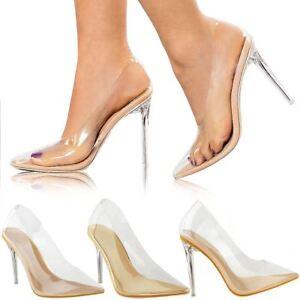 baff542d8c3 Womens Ladies Court Shoes Perspex High Heel Stilettos Sandals Clear ...
