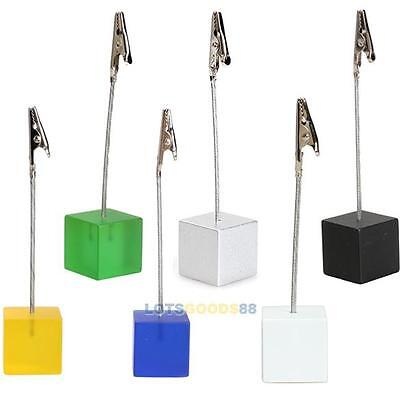 Cube Wire Resin Base Photo Holder Stand Place Card Note Memo Clip Display Gift L