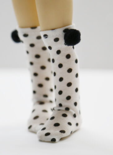 YS127 White w// black dots Custom Stockings For Yo-SD Dollfie// Kish Chrysalis