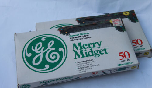 Vintage GE Merry Midget Set Of 50 Christmas Lights USED in box Working Condition
