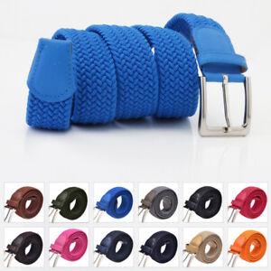 Cintura Uomo Elastica Intrecciata Casual Cinta Elegante Fibbia Argento 12 Colori